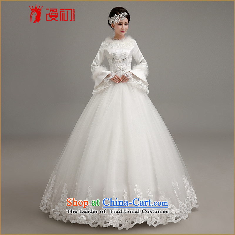 In the early 2015 new man winter video thin wedding Korean straps to align the white bon bon skirt wedding thick warm winter marriage wedding dresses white S code