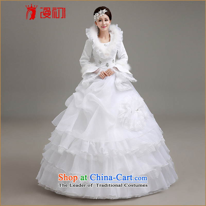 At the beginning of Castores Magi wedding dresses new 2015 Winter Korean wedding winter long-sleeved gross for thick winter, wedding white winter to align the wedding dresses White M code