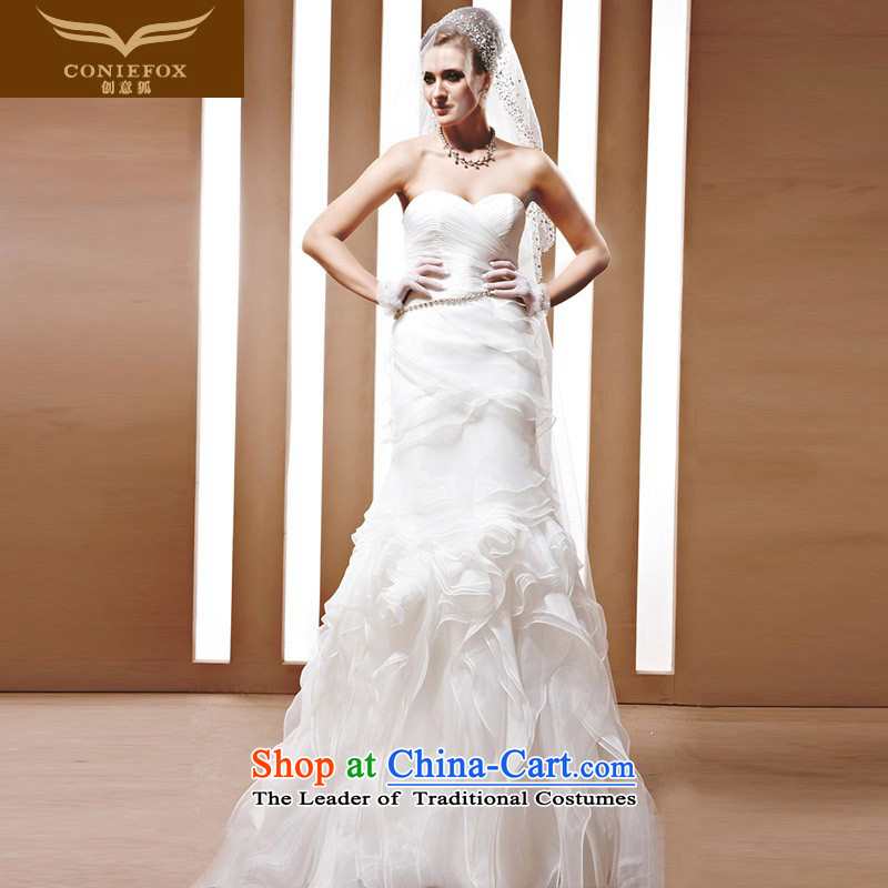 The kitsune Creative wedding tailored stylish bride wedding marriages wedding white anointed chest video thin sweet wedding 90068 tailored