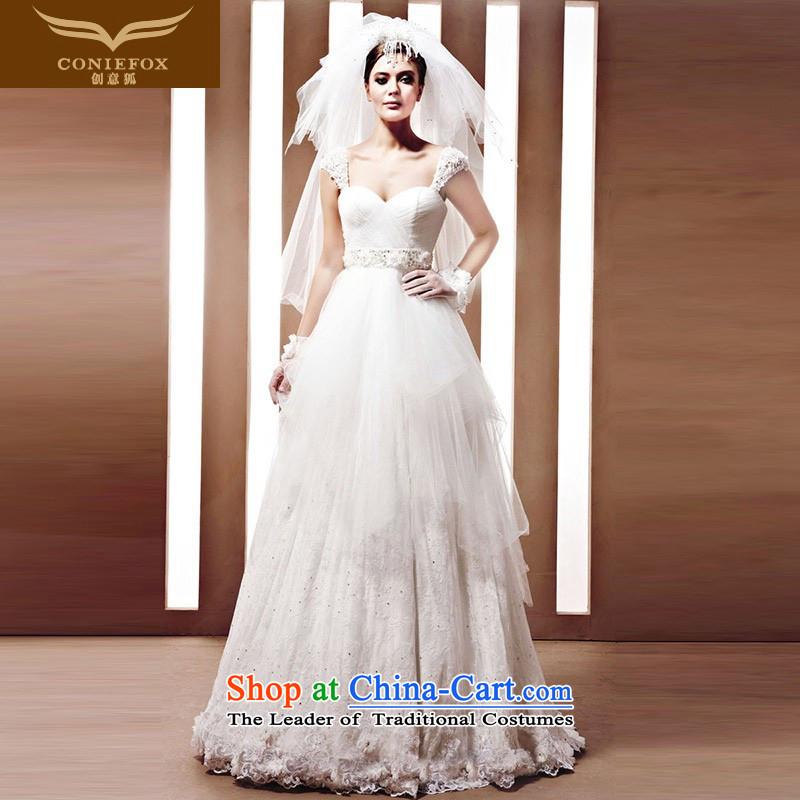 The kitsune Creative wedding tailored bride wedding to align the new white wedding dresses elegant and noble dream wedding 90060 marriage tailored White