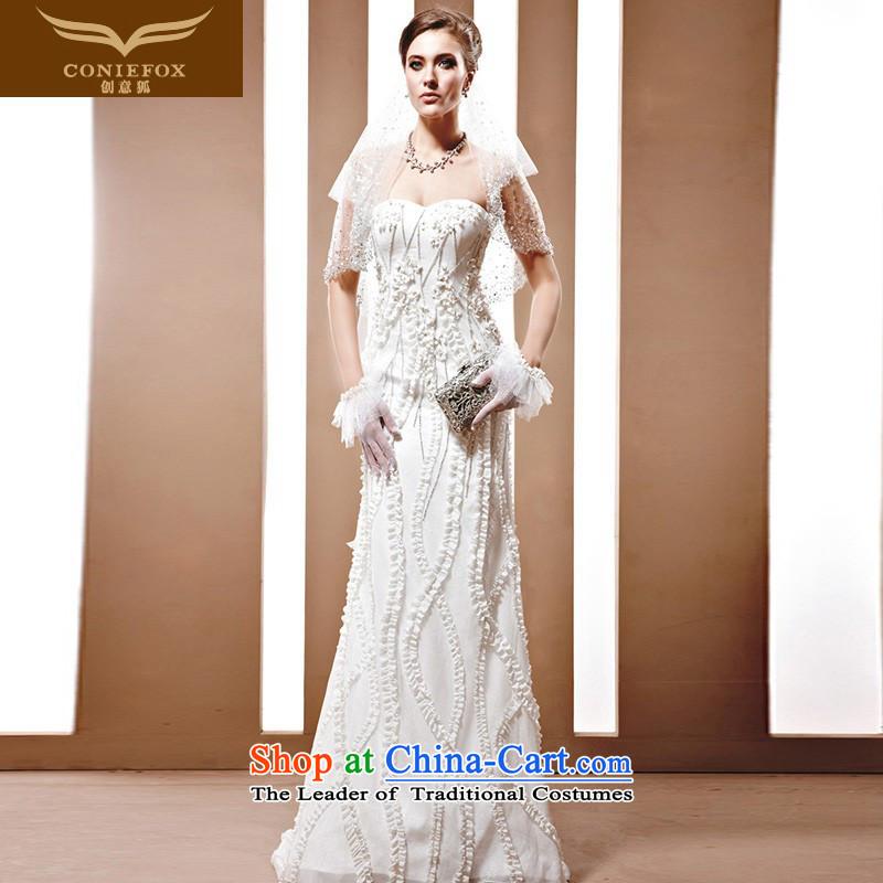 The kitsune dress Creative wedding tailored to align the noble Korean brides wedding-flash water drilling wedding white marriage wedding 90023 tailored White