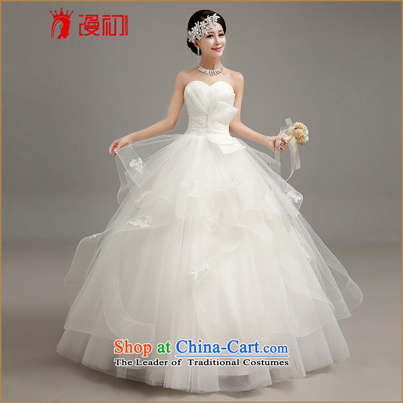In the early聽2015 new man wedding dresses Korean skirt to align bon bon wedding wiping the chest to align graphics thin princess straps wedding white聽L code