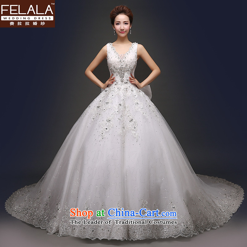 Ferrara?2015 new wedding dresses diamond atmospheric sexy V-Neck package your shoulders of the funds from the trailing) Wedding winter?1.5 m tail?S(1 gauge 9