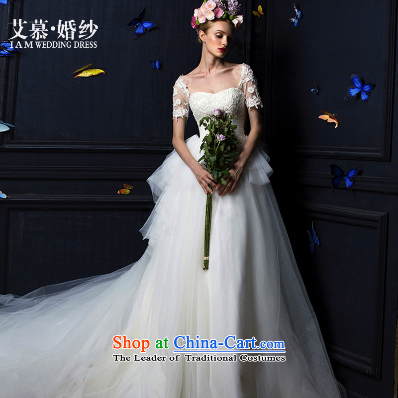 The 2015 new HIV Butterfly Dream anointed chest winter lace long-sleeved bon bon skirt long tail bride wedding dresses wedding white streaks in winter_ S