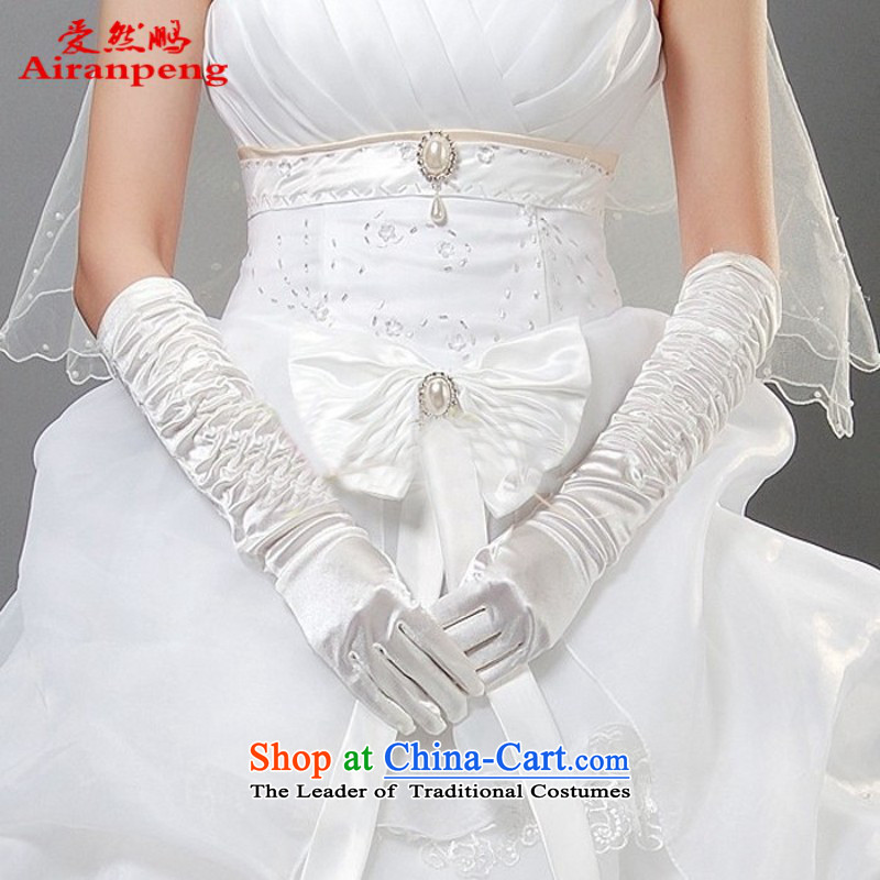 Wedding dress of Satin glove / long Glove / Wedding Glove / white gloves ST515 periwinkle White