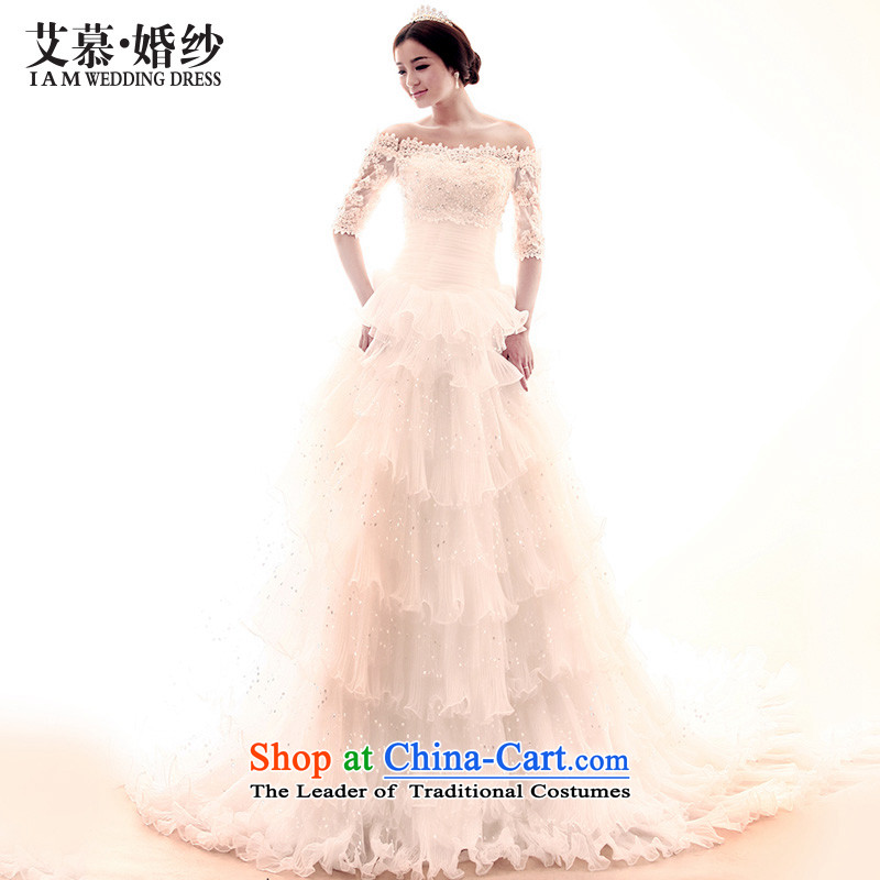 The 2015 new HIV boast long tail Korean word princess crowsfoot Shoulder Drill wedding dress wedding dress long-sleeved white�L