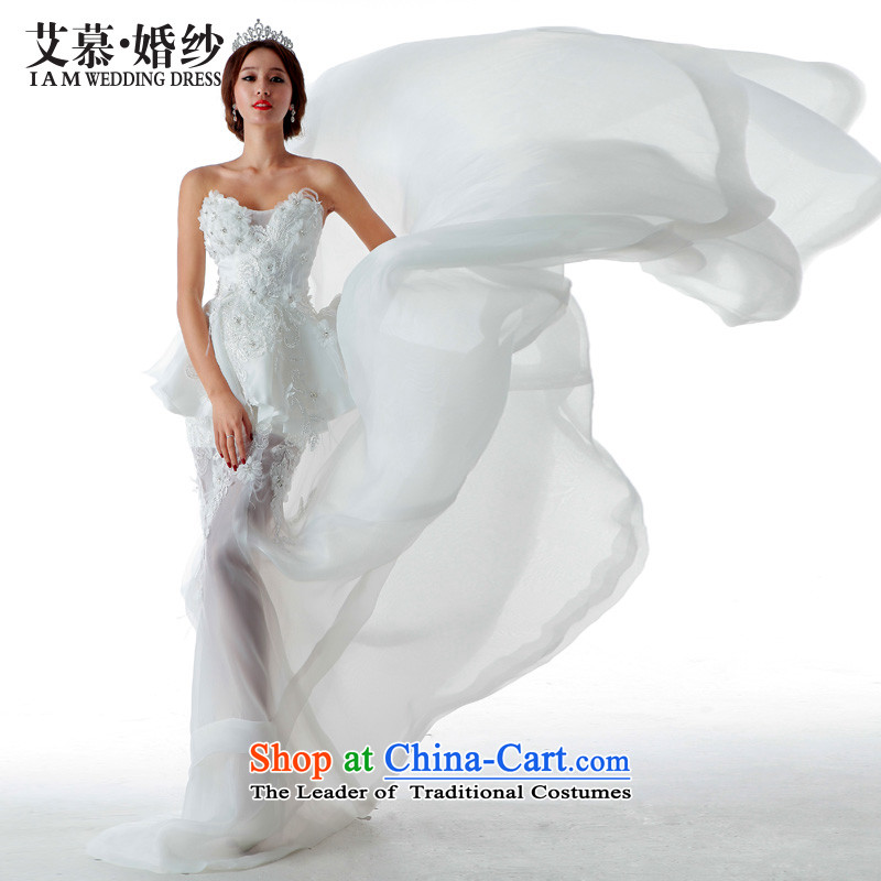 The 2015 new HIV wedding early summer semi permeable large tail crowsfoot flash erase chest stylish video drill thin bride dress ivory alignment of land�S