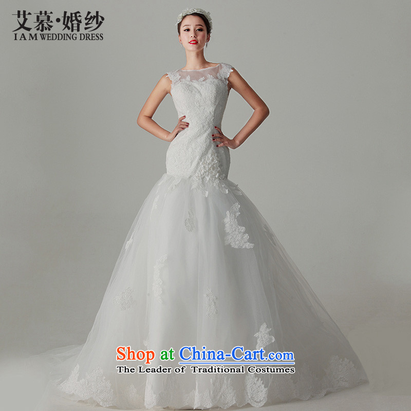 The?2015 new HIV flower fuser elegant lace back a crowsfoot field shoulder Princess Korean tail wedding dresses White?M