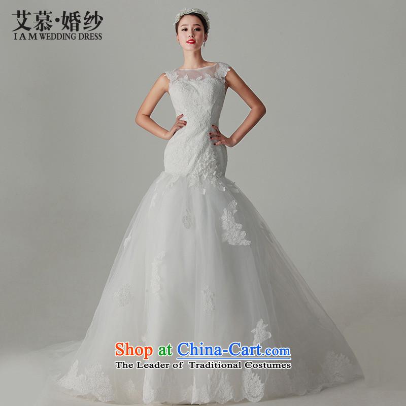 The�2015 new HIV flower fuser elegant lace back a crowsfoot field shoulder Princess Korean tail wedding dresses White�M