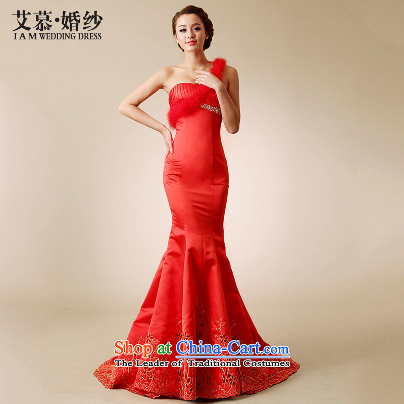 The?2015 new HIV Jane Eyre shoulder ostrich feathers satin lace small crowsfoot wedding dresses tail red big white red?L