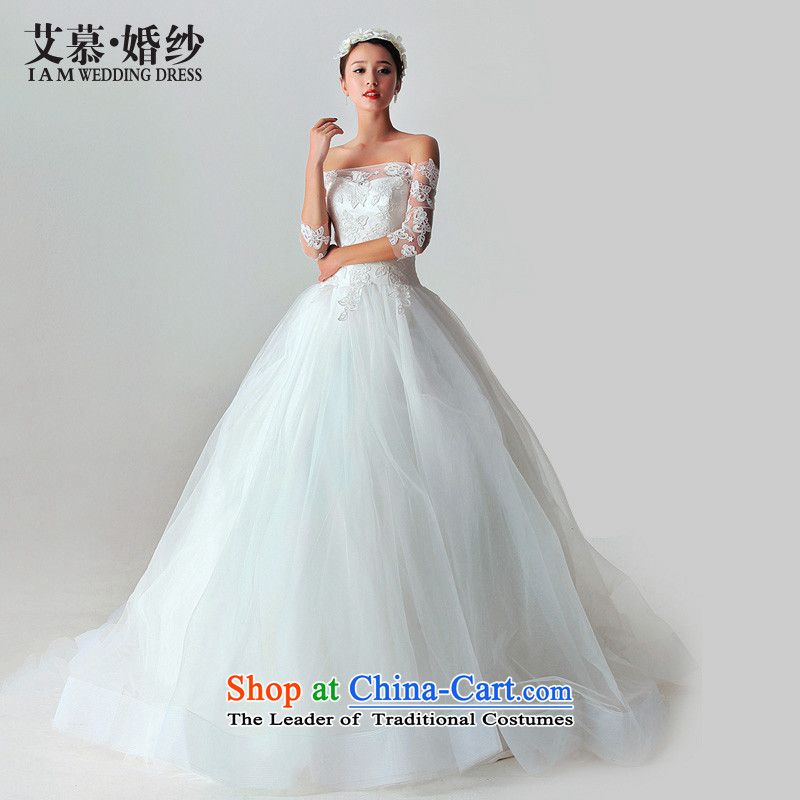 The 2015 new HIV wedding dresses in the word Overgrown Tomb shoulder length trailing white?M