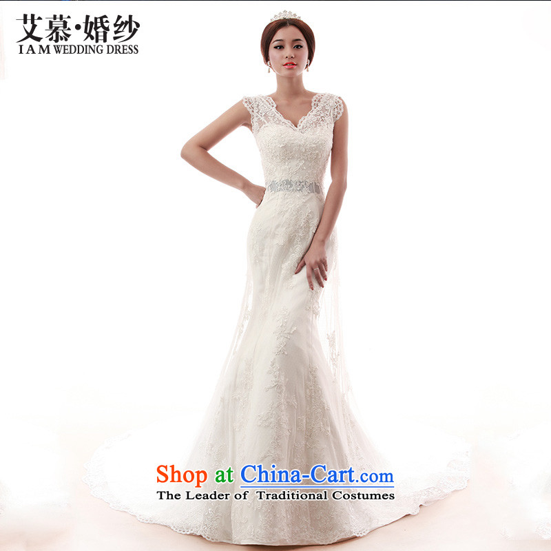 The?2015 new HIV wedding star trade minimalist satin crowsfoot tail anointed chest bride wedding dresses White?M