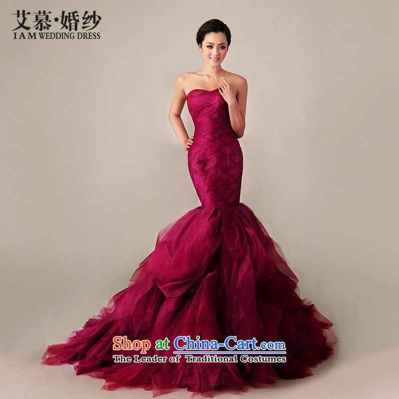 The 2015 new HIV red mermaid crowsfoot tail Korean wedding dresses wine red straps, tailored