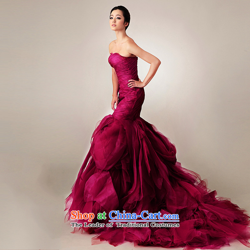 The 2015 new HIV red mermaid crowsfoot tail Korean wedding dresses wine red straps, tailored, HIV in , , , shopping on the Internet