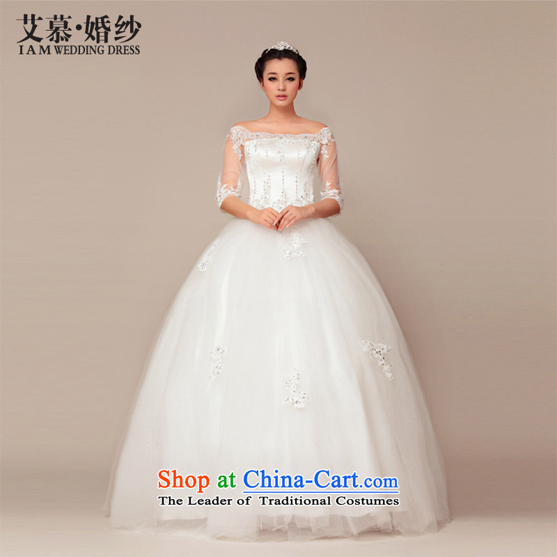 The?2015 new HIV under the Korean version of the winding Princess Mary Magdalene chest word retro shoulder bon bon skirt in cuff wedding dresses ivory?S