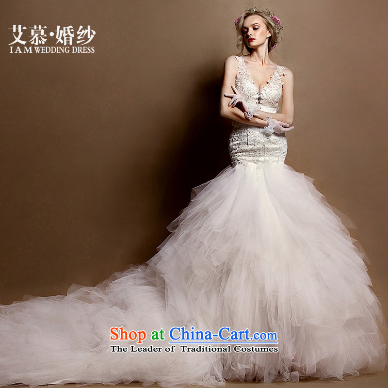 The 2015 new HIV YA DONG deep V lace crowsfoot tail half revealed back bride wedding dresses ivory?S
