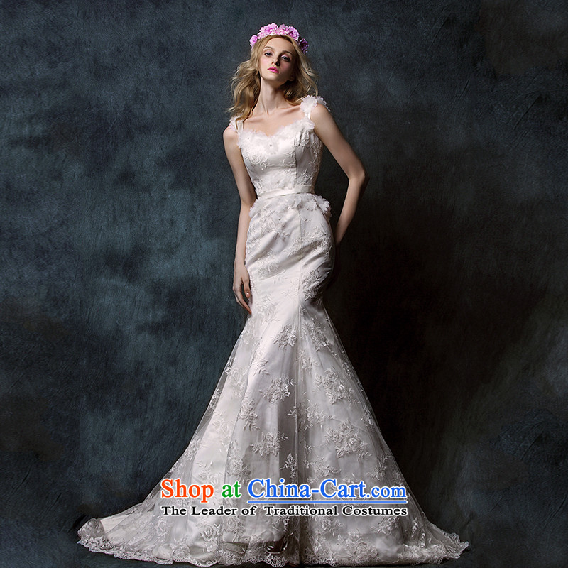 The?2015 new HIV Miu light depilation lace chest straps crowsfoot tail bride wedding dress White?M