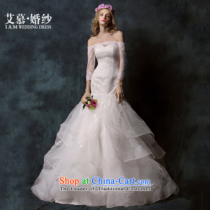 The聽new 2015 program covered by double-wiping the chest lace a crowsfoot long-sleeved brides field shoulder wedding dress white聽S