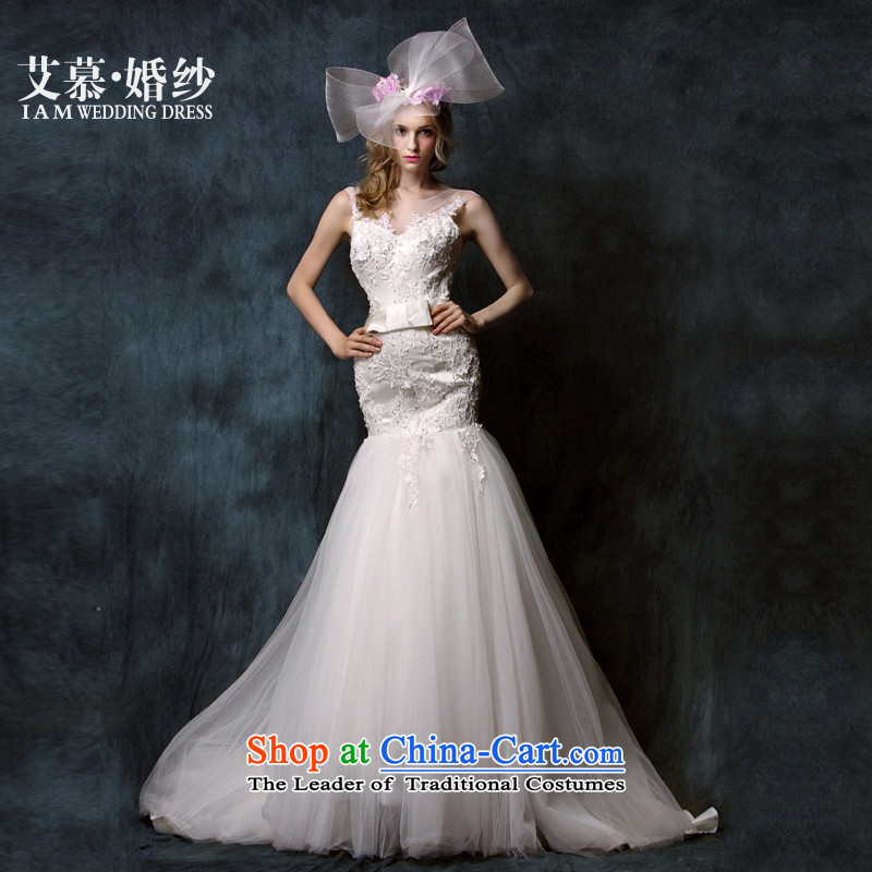 The?2015 new HIV-yui semi permeable lace deep V anointed chest lace crowsfoot bride wedding dresses ivory?L