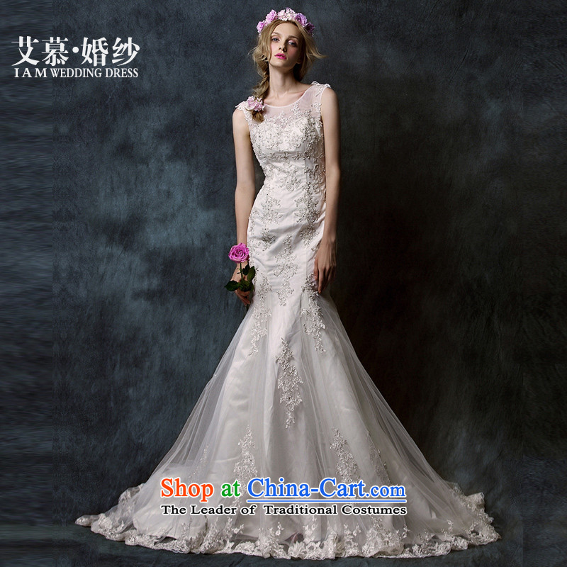 The Wedding�2015 HIV new early breast tissue semi permeable Yao lace crowsfoot tail bride wedding dress White�M