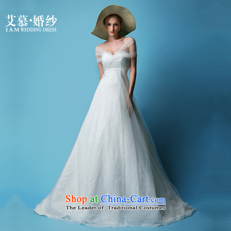 The Wedding?2015 HIV new cycle word Hui shoulder and chest lace semi permeable bride wedding dress White?XL