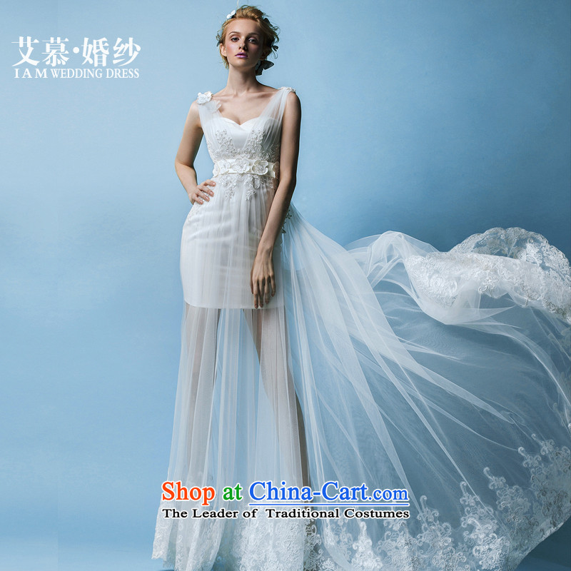 The Wedding?2015 HIV New Nga Yui shoulders a semi-permeable wiping the Chest) Bride short wedding dresses white?L