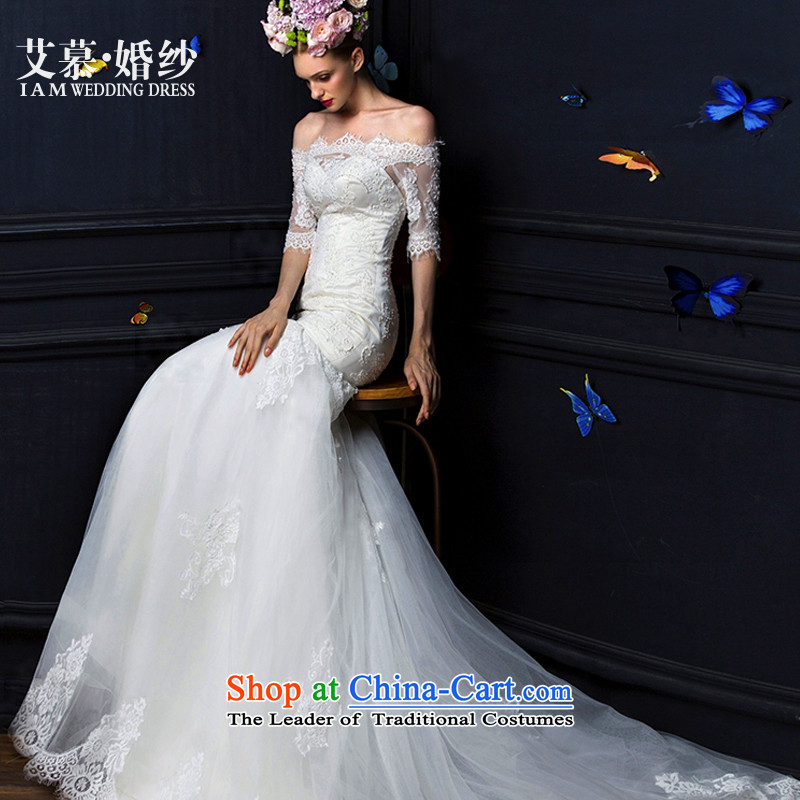 The 2015 new HIV Miu covered by a field with chest lace shoulder crowsfoot tail long-sleeved bride wedding dresses white�S