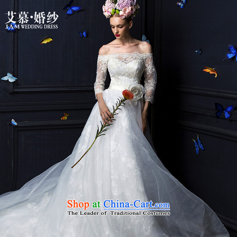 The 2015 new HIV Ling Xuan anointed chest lace a field long-sleeved tail brides shoulder wedding dress white S
