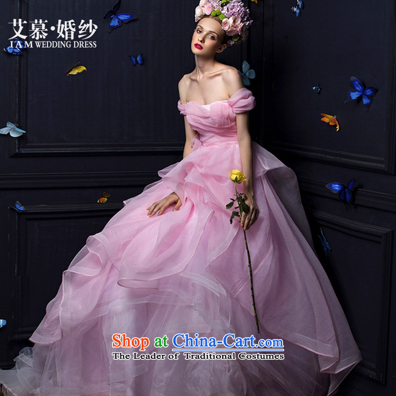 The HIV wedding wedding dresses 2015 new toner, wipe the word chest shoulder princess bubble yarn wedding dresses light pink?M