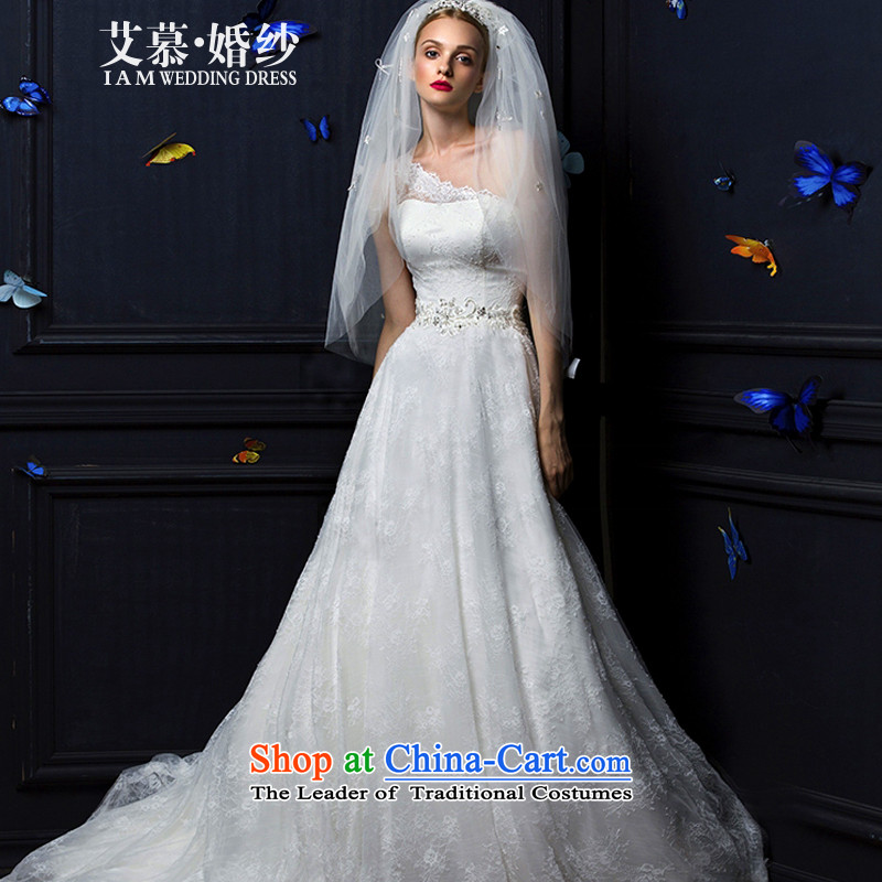 The Wedding?2015 HIV new half dream shoulder full lace long tail bride wedding dresses ivory?XL