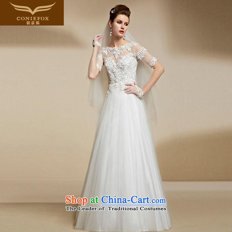 The kitsune high-end Custom Creative white wedding dresses 2015 New Long Top Loin of Sau San shoulders video thin girl brides dress pregnant women 90202 tailored White