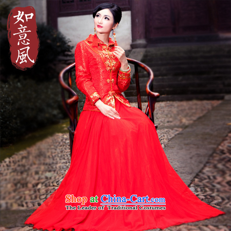 After a new wind autumn and winter bride folder cotton dress chinese red color wedding package long-sleeved dress cheongsam dress large 4068th 4068th�XXL