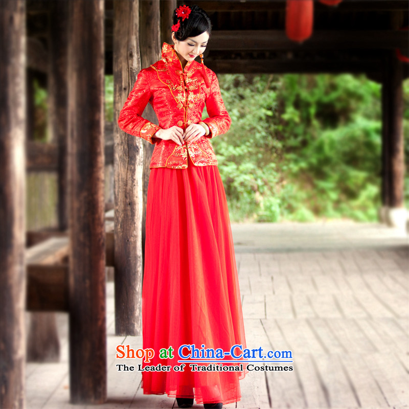 After a new wind autumn and winter bride folder cotton dress chinese red color wedding package long-sleeved dress cheongsam dress large 4068th 4068th XXL, ruyi wind shopping on the Internet has been pressed.
