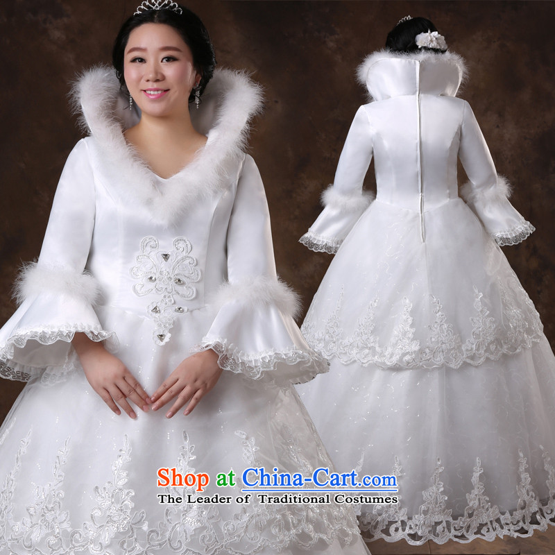 Shared Keun guijin pregnant women Top Loin of winter, long-sleeved video thin xl plus obesity Tien mm wedding m White XXXL scheduled 3 days from Suzhou Shipment