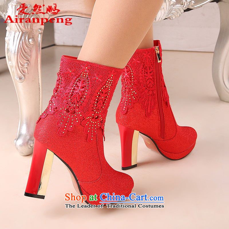 Marriage wears the autumn and winter of 2014 Ladies Boot red boots the the high-heel marriage marriage shoes with rough shoes bride Baseball Shoes and Boots in winter boots?10-cm with?35