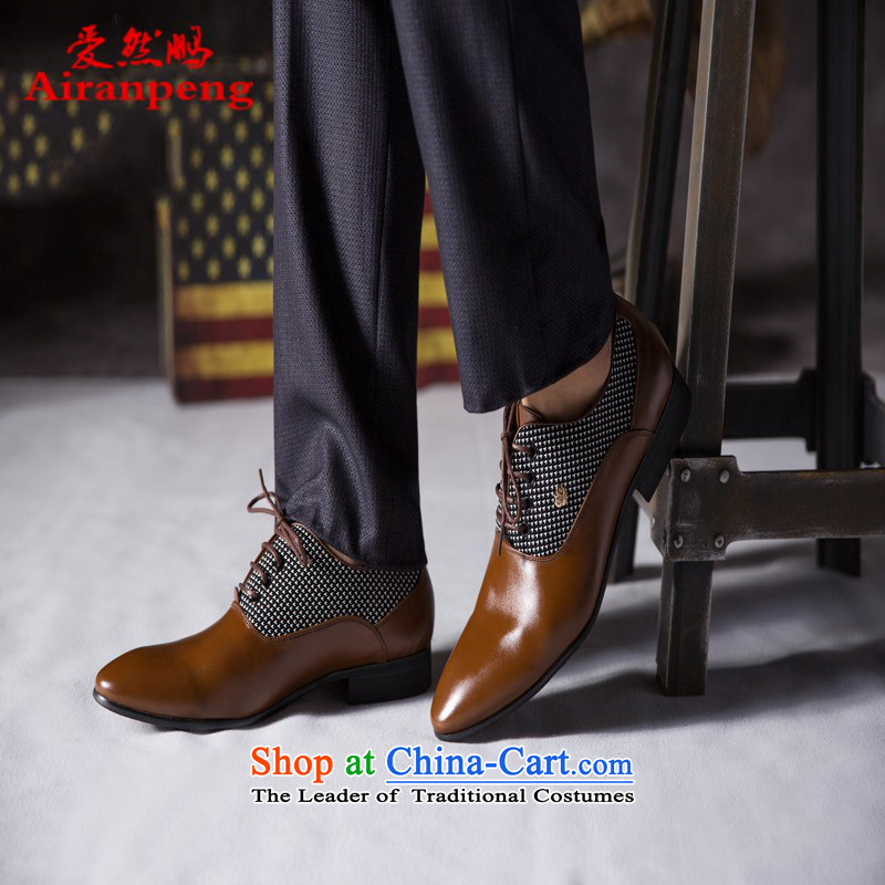 The autumn and winter men shoes, leather strap business round head leather ladys shoes and leather of the breathable genuine English shoe marriage shoes cinnabar Red 43