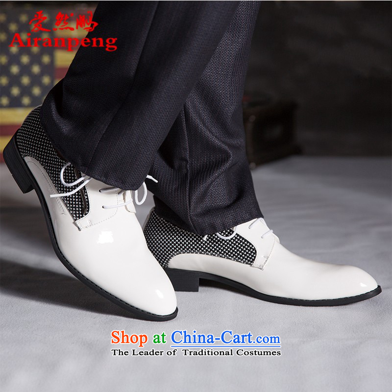Men's Shoes and Leather Shoes tether point is business shoes for autumn and winter England Korean men shoes white 42