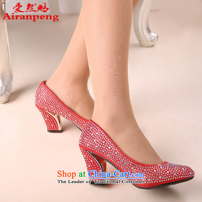 The spring and autumn of 2014 Korea Princess marriage in bold red shoes with nightclubs the the high-heel shoes cross strap waterproof desktop womens single 6 cm with red shoes聽38