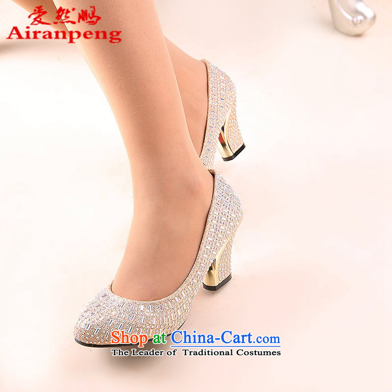 The Bride In The Golden Shoe marriage with rough shoes with red shoe size code marriage round head 6 cm with gold,聽39