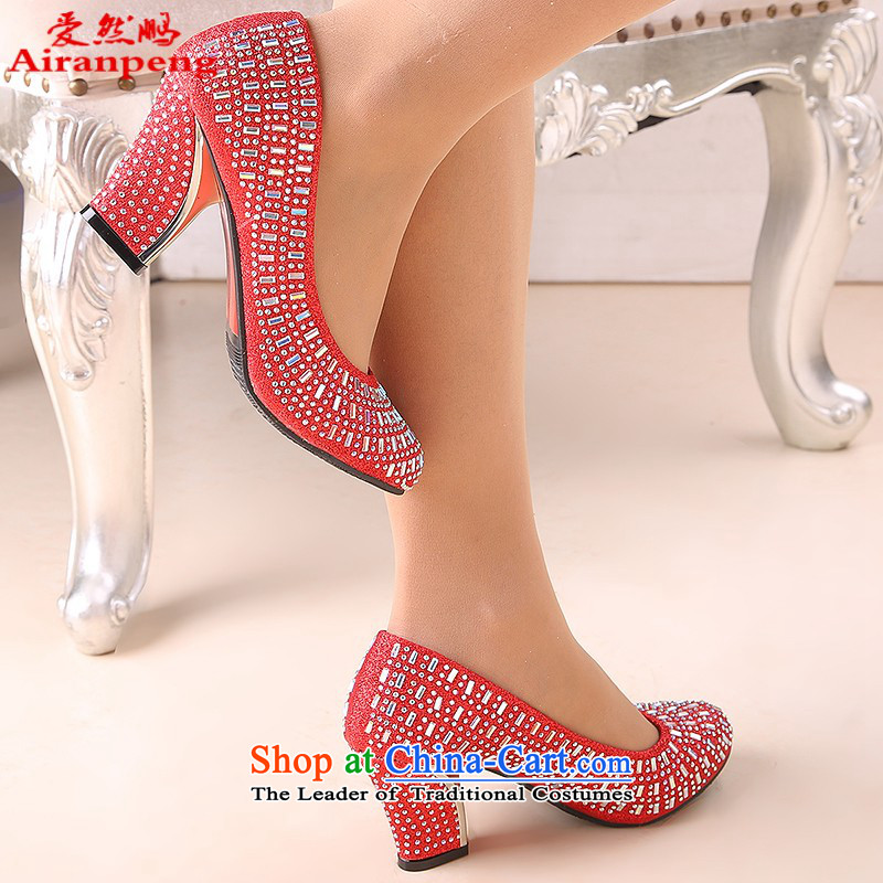 The Bride In The Golden Shoe marriage with rough shoes with red shoe size code marriage round head 6 cm with gold, 39 Oi Yin Peng (AIRANPENG) , , , shopping on the Internet