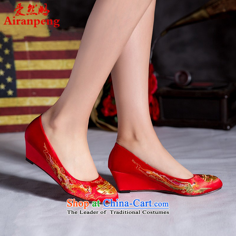 Marriage Women 2014 new red high-heel shoes bride shoes with women shoes single rough shoes Chinese style wedding Red Shoe 3 cm uphill with 39