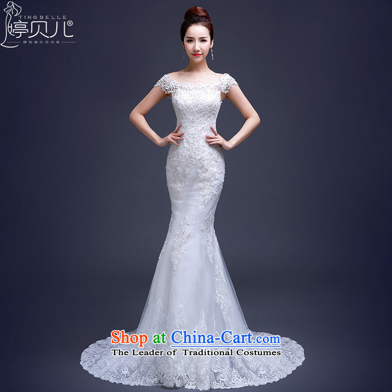 Beverly Ting wedding dresses new Word 2015 Summer stylish shoulder tail crowsfoot bride dual shoulder type Korean spring lace wedding white聽S