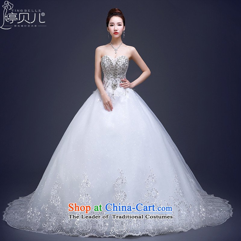 Beverly Ting wedding dresses new stylish Korean 2015 Long Tail bride anointed chest water yard white drill large retro winter White聽M