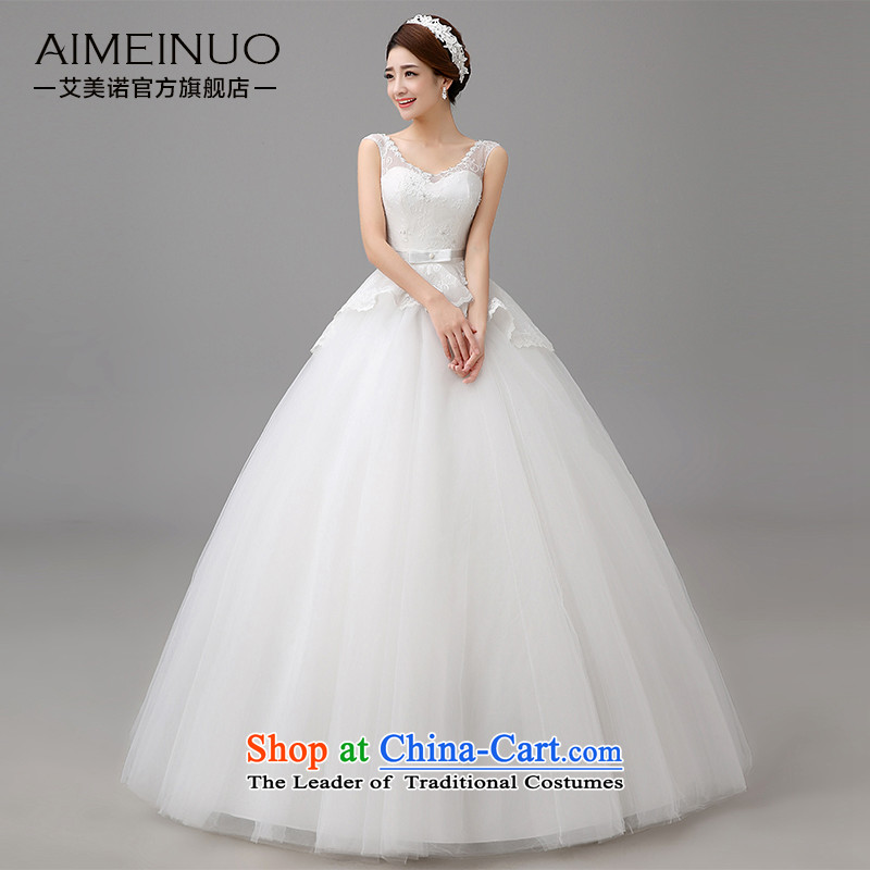 Hiv Miele wedding dresses new�2015 Spring/Summer stylish large marriages Korean shoulders to align the V-Neck Strap Sau San video�H-80 thin�white�L