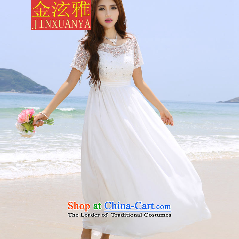 Kim Hyun ya 2015 skirt wedding nails beach pearl diamond dress long skirt white�L