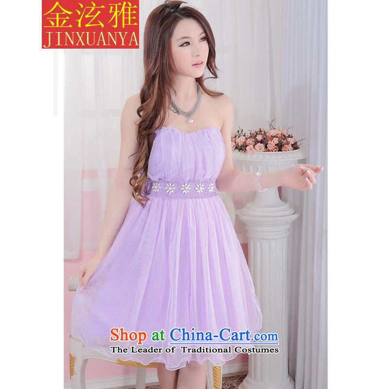 Kim Hyun ya 2015 bridesmaid Dress Short, lace small dress sister bows evening dresses purple skirt
