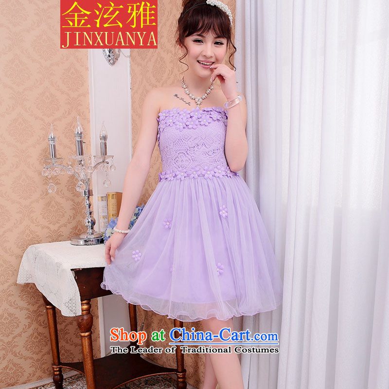 Kim Hyun ya 2015 Spring Bridesmaid Dress Short, lace small dress sister bows dress skirt light purple, Kim Hyun Nga , , , shopping on the Internet
