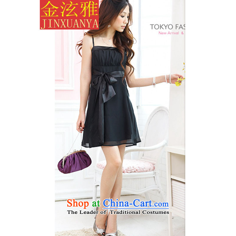 Kim Hyun ya 2015 small dress?waist ribbons shoulders chiffon dress strap black skirt