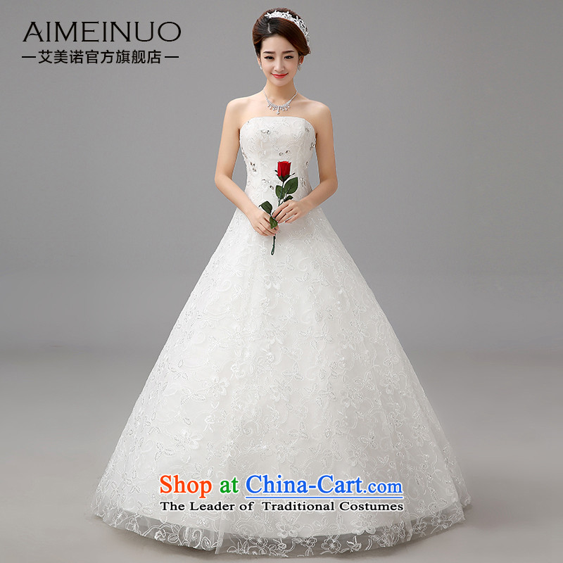 Hiv Miele Wedding 2015 new Korean irrepressible diamond lace flowers and chest straps bride to align graphics Sau San thin princess yarn�H-82�White�M A swing