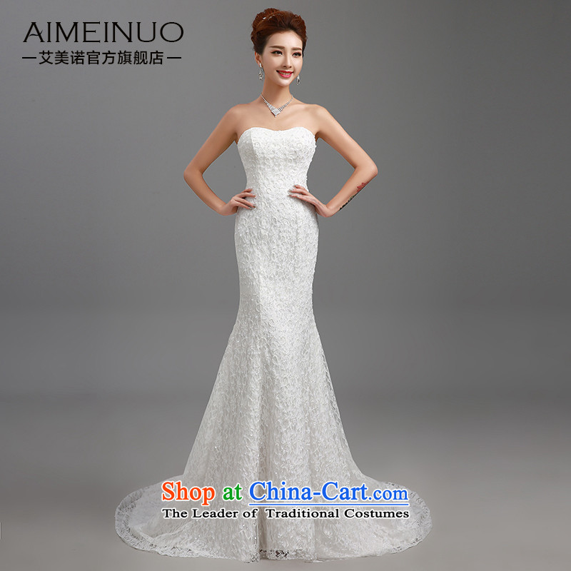 Hiv Miele Wedding 2015 new stylish wedding dresses strap small trailing Princess Sau San video lace anointed chest thin package and skirt�H-84 crowsfoot�White�XL